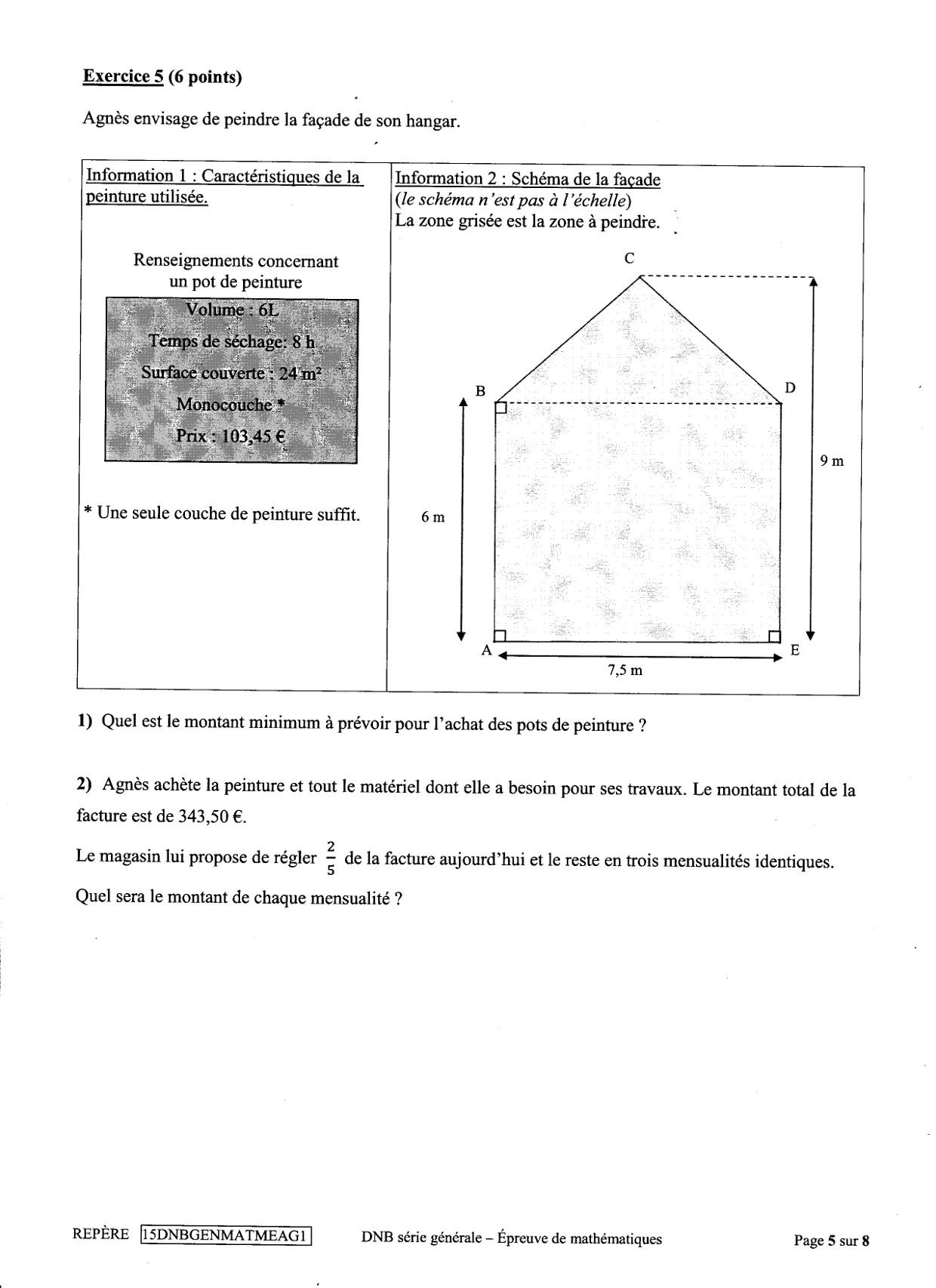 dnb de mathématiques 2015 - collège pierre paul prud'hon
